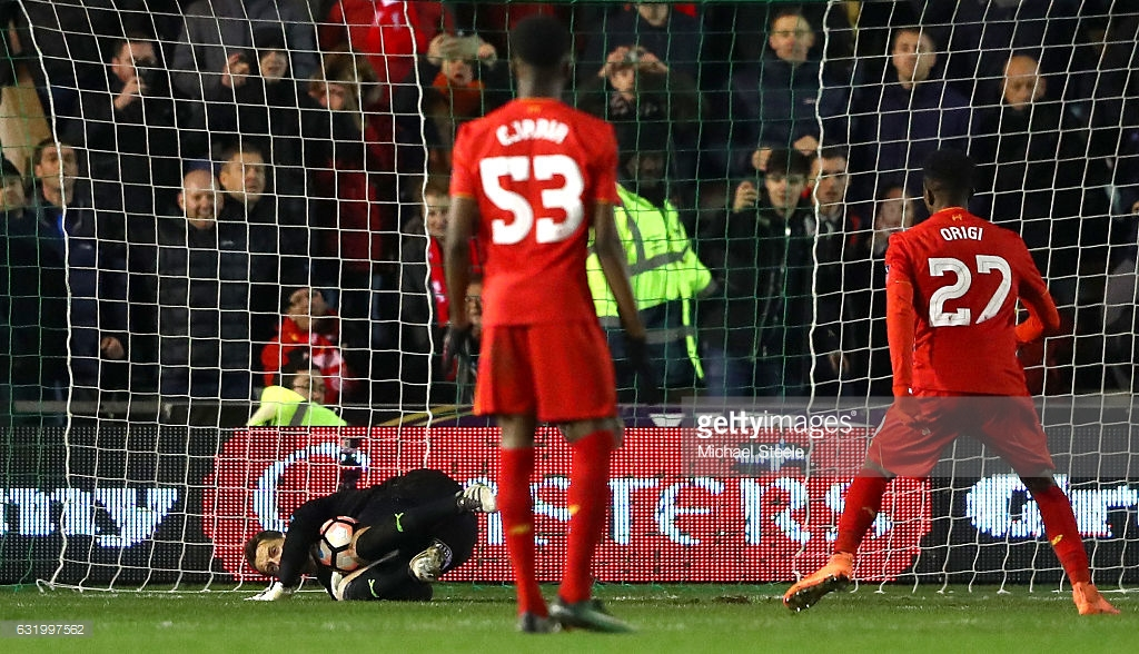 during The Emirates FA Cup Third Round Replay match between Plymouth Argyle and Liverpool at Home Park on January 18, 2017 in Plymouth, England.